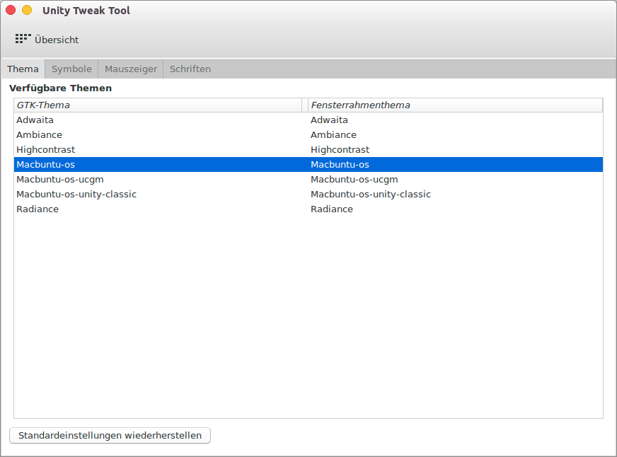 MacOSX Design für Ubuntu