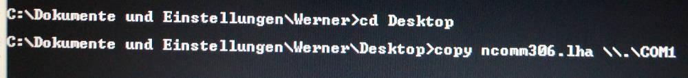 serielle Schnittstelle Datei senden Windows XP