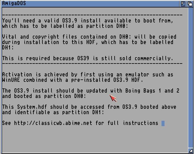 Amiga OS 3.9 Lizenzhinweis