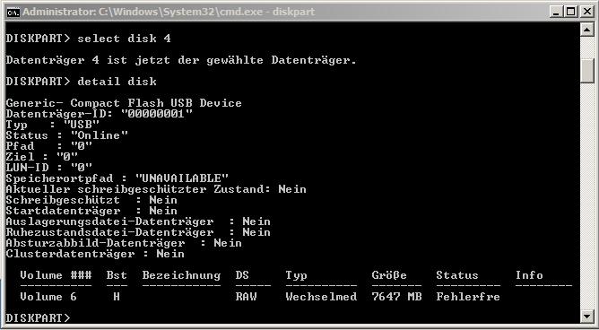 diskpart detail disk