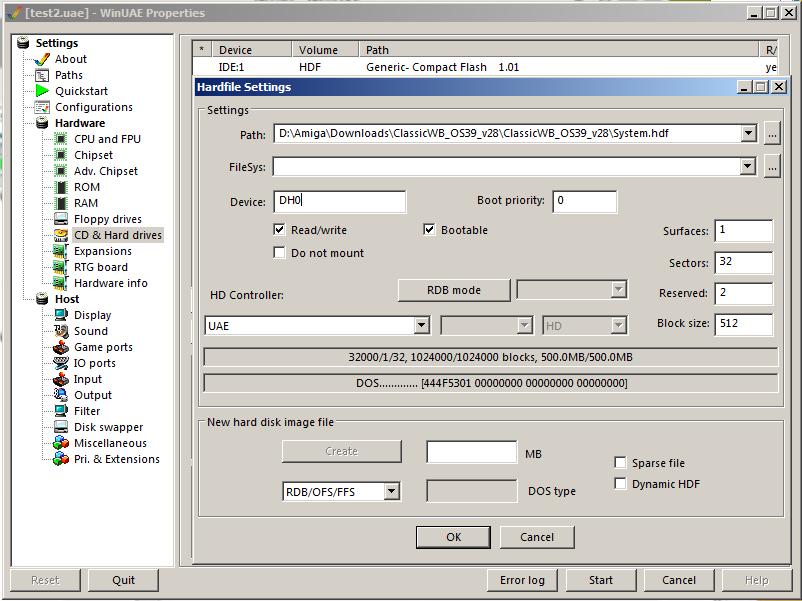 System.hdf WinUAE einbinden