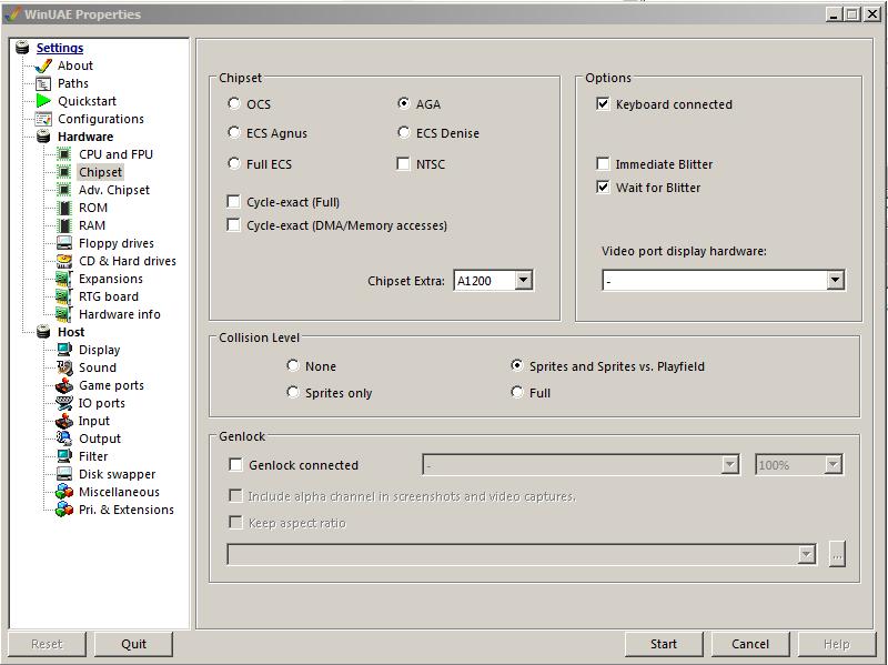 WinUAE Chipset Einstellungen