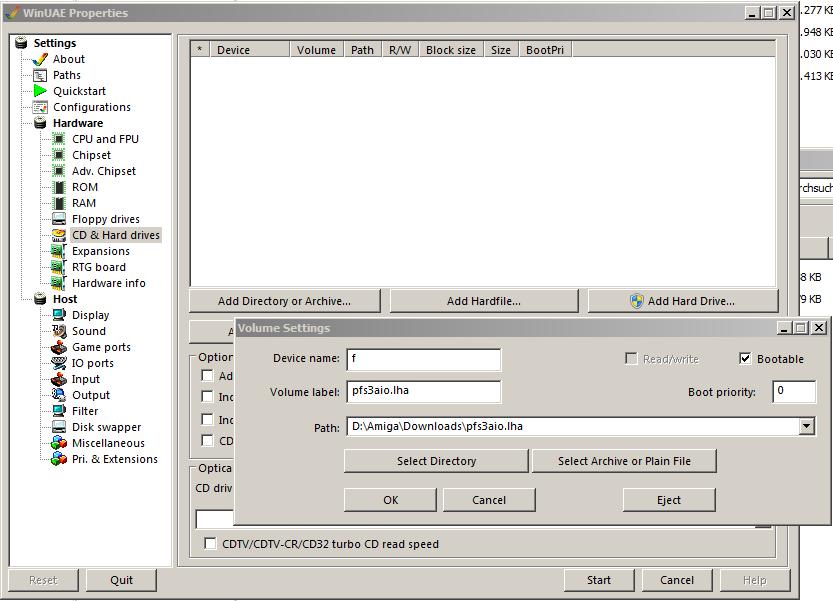 WinUAE Datei oder Archiv hinzufügen