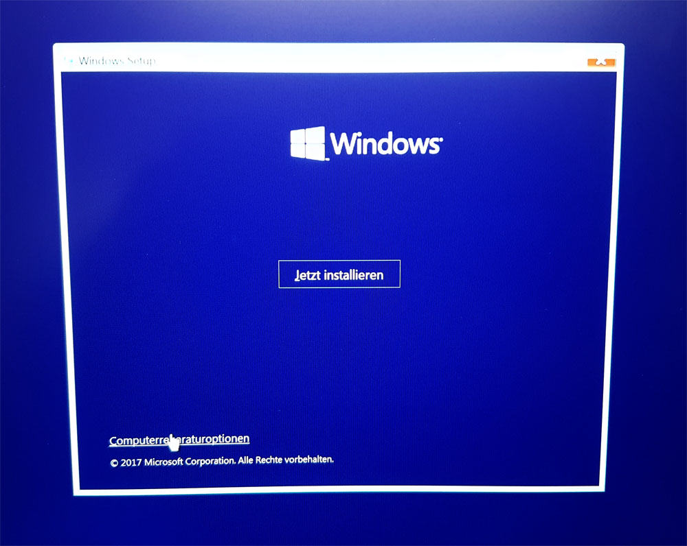 Windows 10 Installation Reparaturoptionen