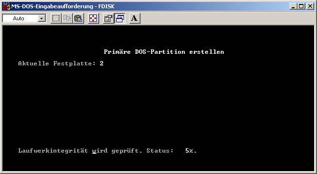 fdisk Primäre DOS partition-erstellen