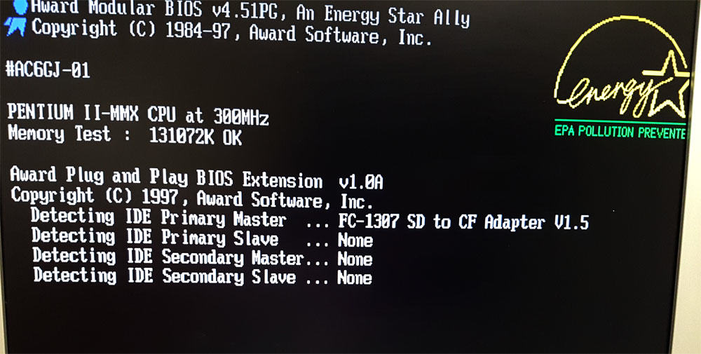 SD Adapter boot screen