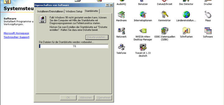 Windows 98 Startdiskette erstellen
