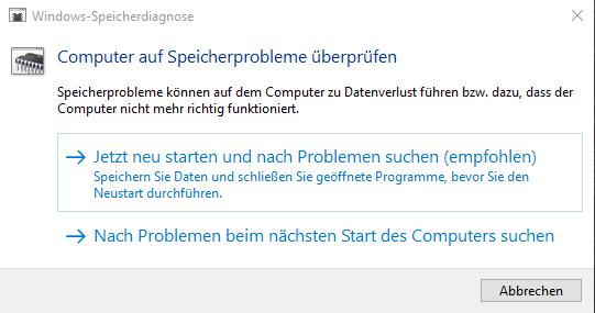 RAM Probleme Windows 10