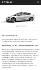Tesla Model 3 Hinweise zur Bestellung