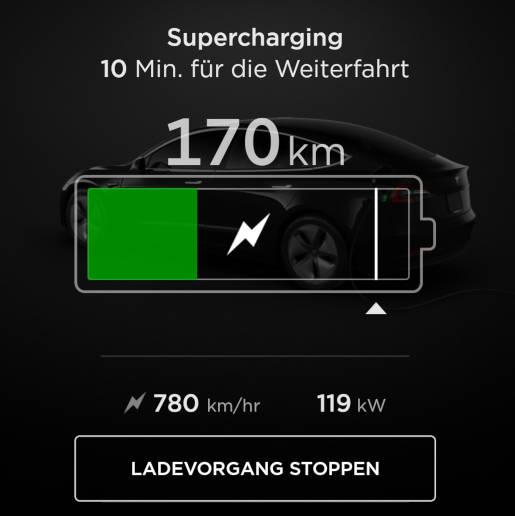 Tesla Model 3 App Supercharger