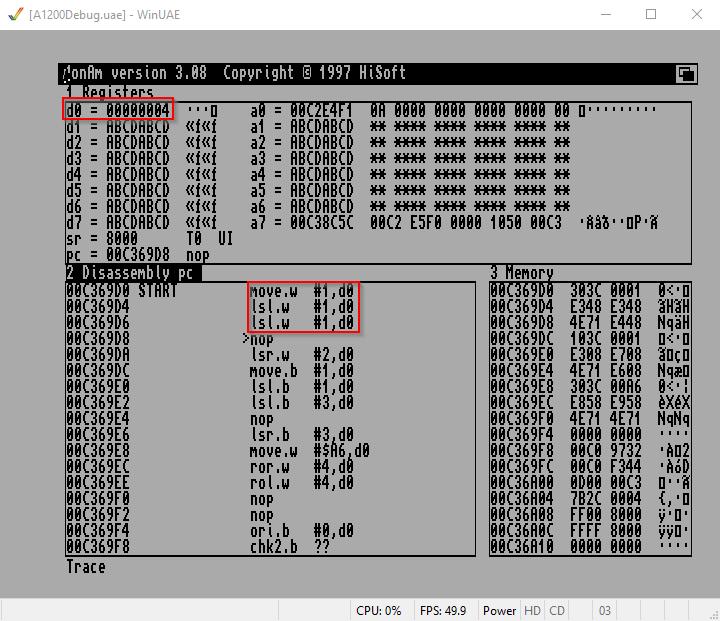 Amiga Assembler Bitshift LSL