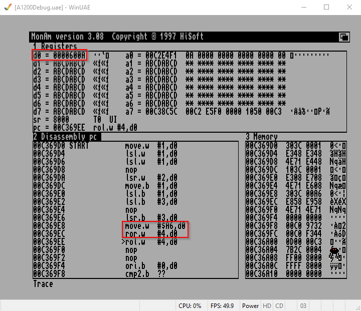 Amiga Assembler Bitshift ROR