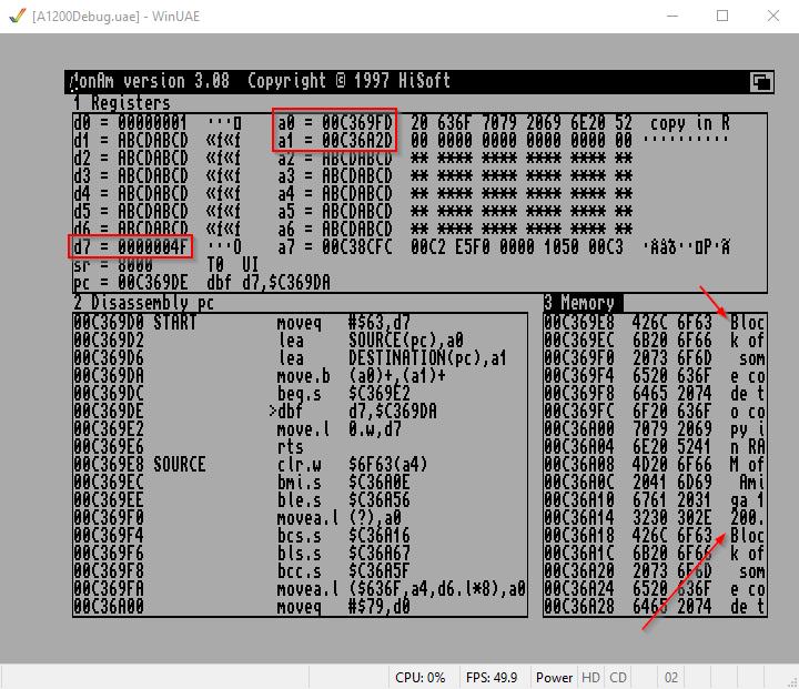 Amiga Assembler copy String Memory