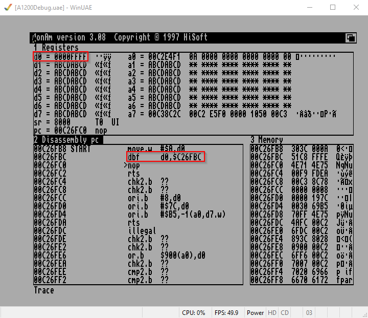 Amiga Assembler do while Schleife