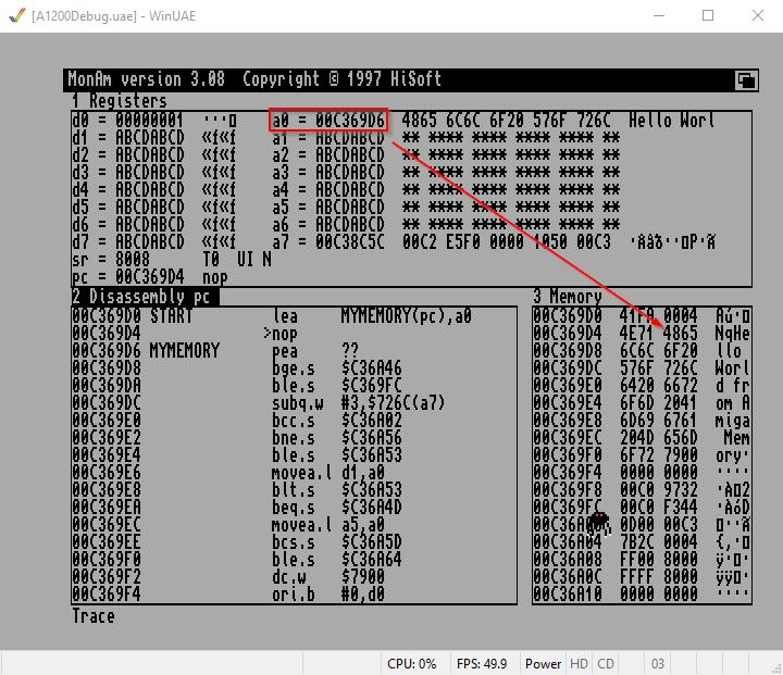 Amiga Assembler lea memory pointer