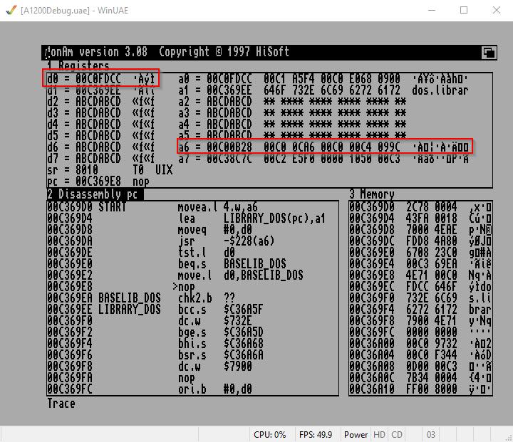 Amiga Assembler load dos.library