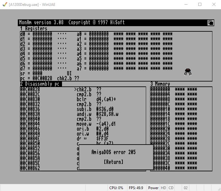 Debug Amiga in Verwendung