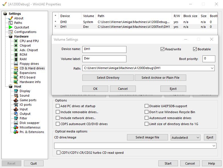 Debug Amiga Konfiguration