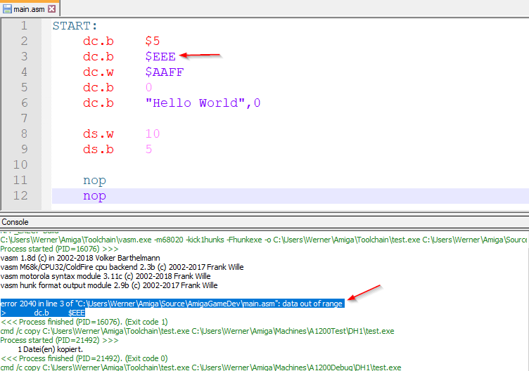 VASM Compiler error data out of range