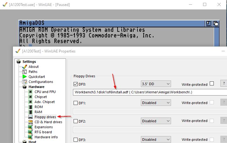 Amiga Diskette einlegen