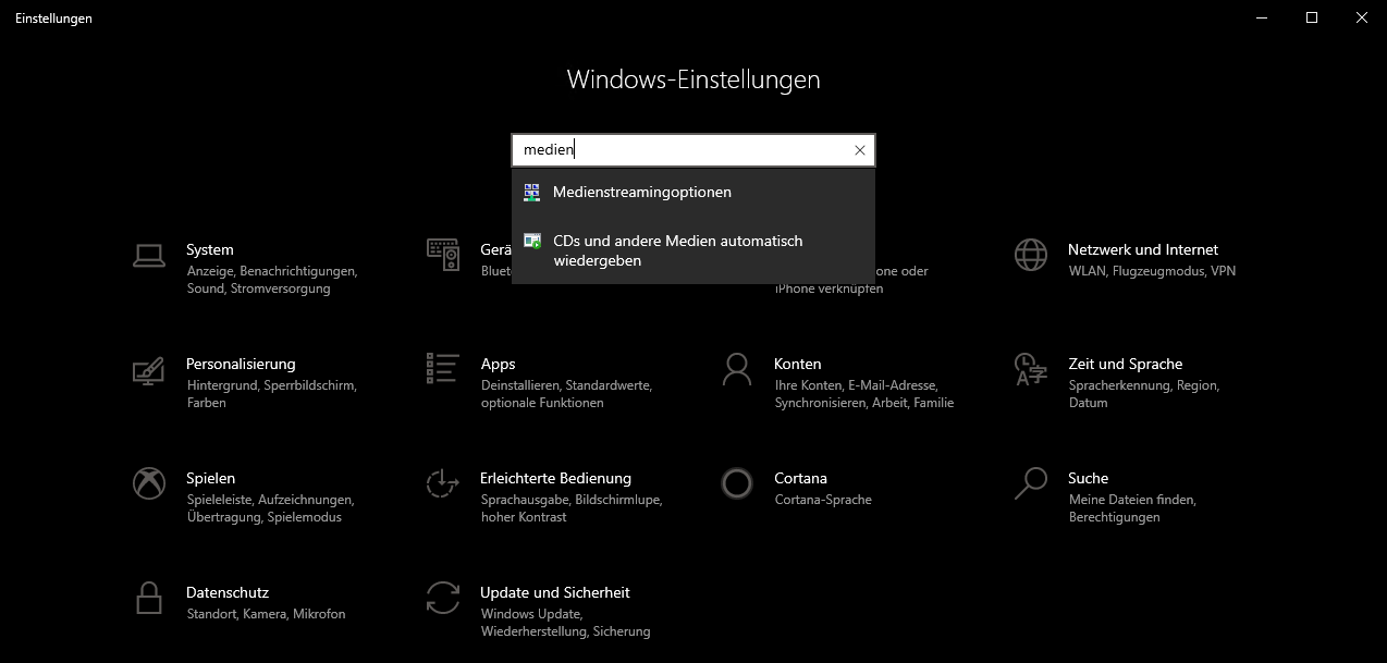 Medienstreamingoptionen Windows 10
