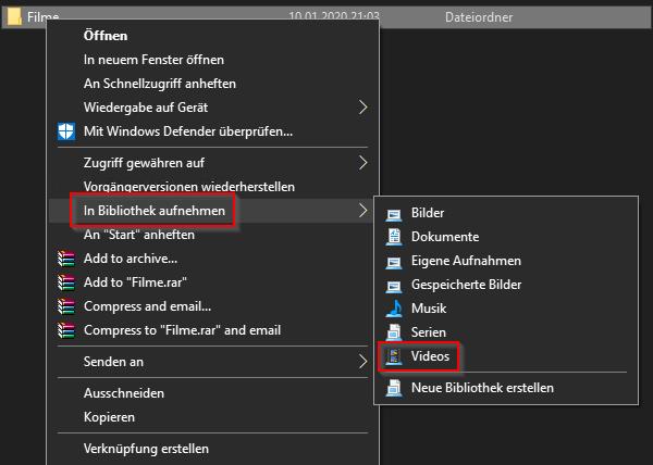 Windows 10 Videos zu Bibliothek hinzufügen
