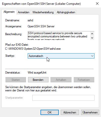 OpenSSH Server starten