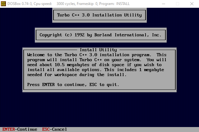 Turbo C Installation DOS