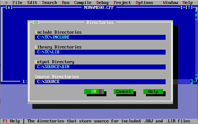 Turbo C++ Output Directory Source