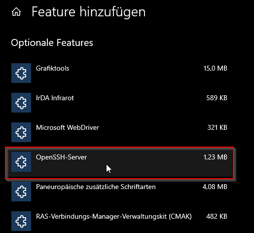 Windows 10 Apps openssh Server installieren