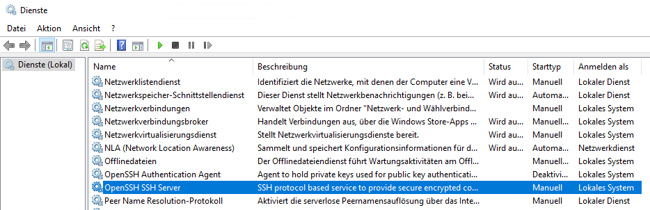 Windows 10 Dienste OpenSSH Server