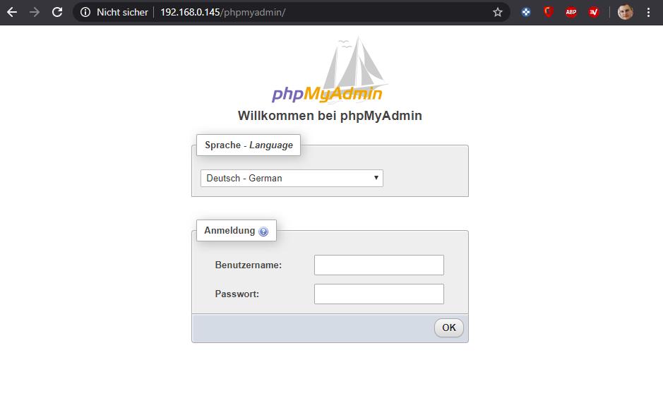 phpMyAdmin Weboberfläche