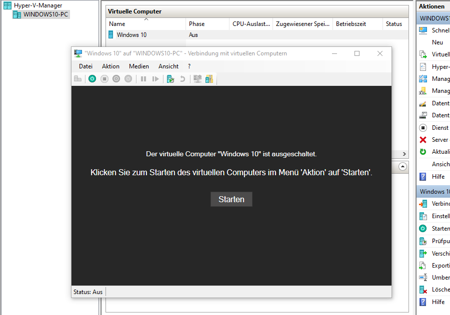 virtuelles Windows 10 starten