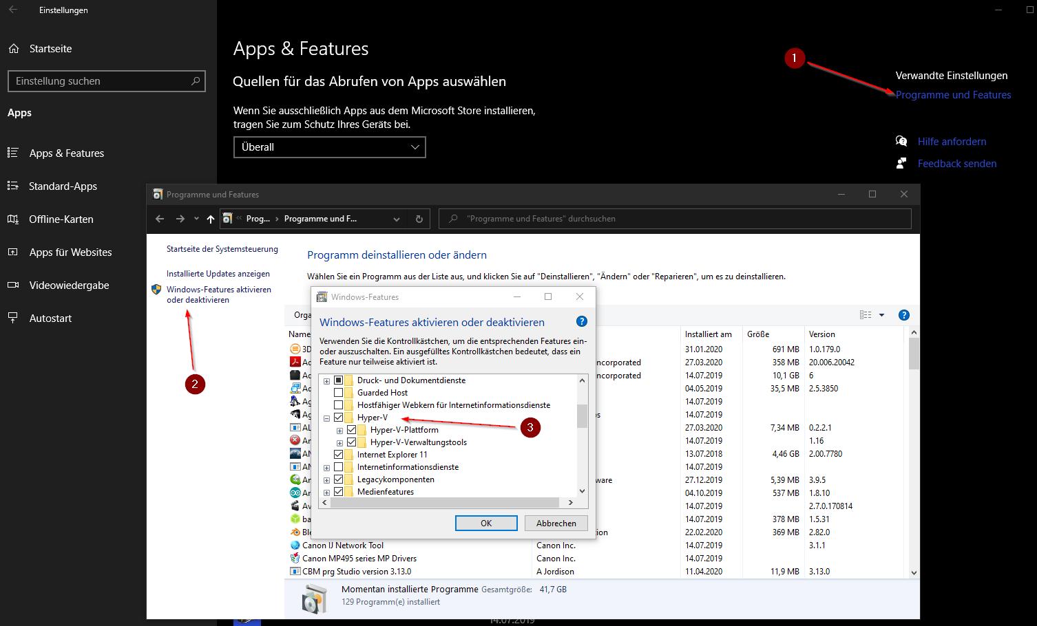 Windows 10 Hyper-V aktivieren