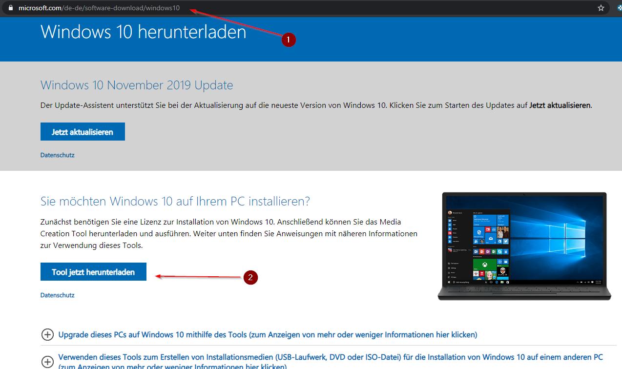 Windows 10 *.iso erstellen
