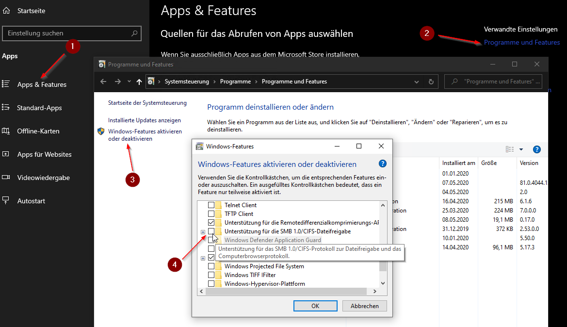 Windows 10 smb Freigabe aktivieren
