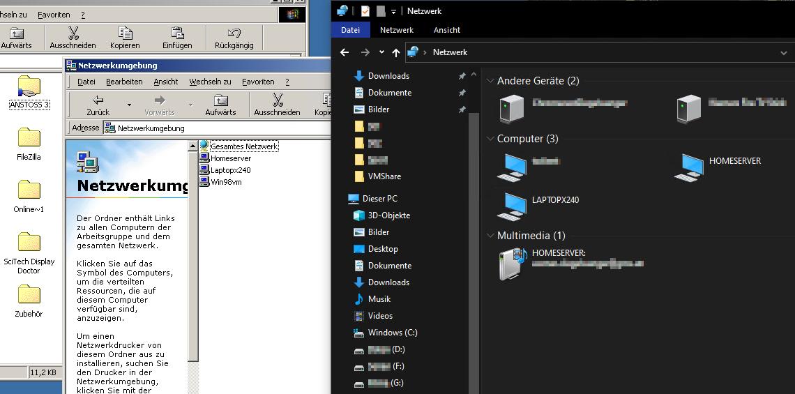 Windows 98 Freigabe unter Windows 10 nicht sichtbar