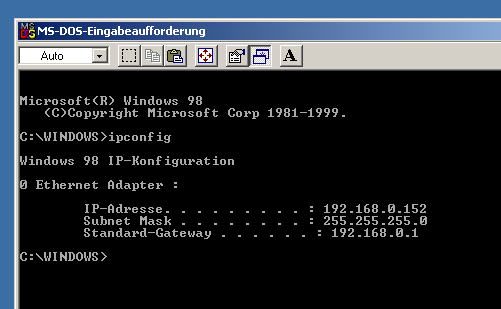 Windows 98 IP Adresse ermitteln