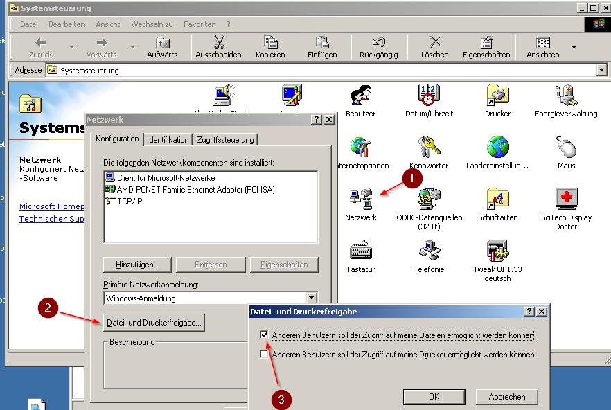 Windows 98 Netzwerkfreigabe aktivieren