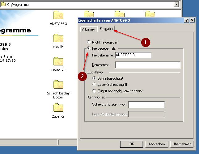Windows 98 Ordner freigeben