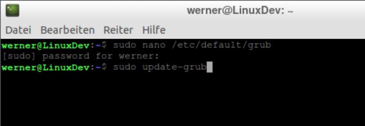 Linux VM Auflösung ändern grub Update