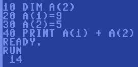c64 array dim Felder