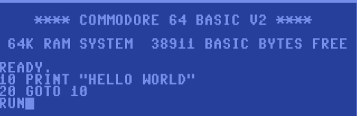 c64 hello world