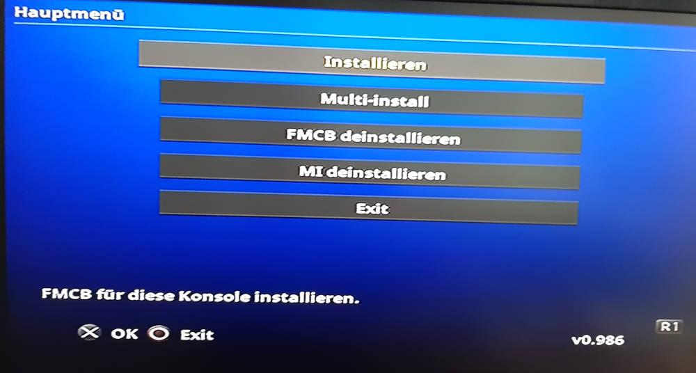 fmcb Installer Hauptmenü