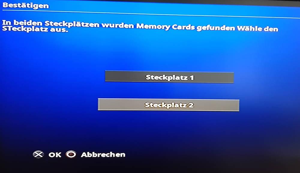 fmcb Wahl Speicherkarte Slot