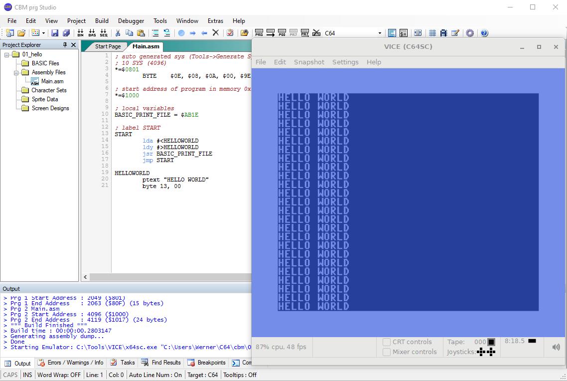C64 hello World Assembler
