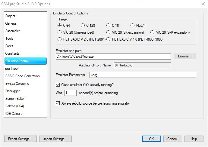 CBM Editor Optionen