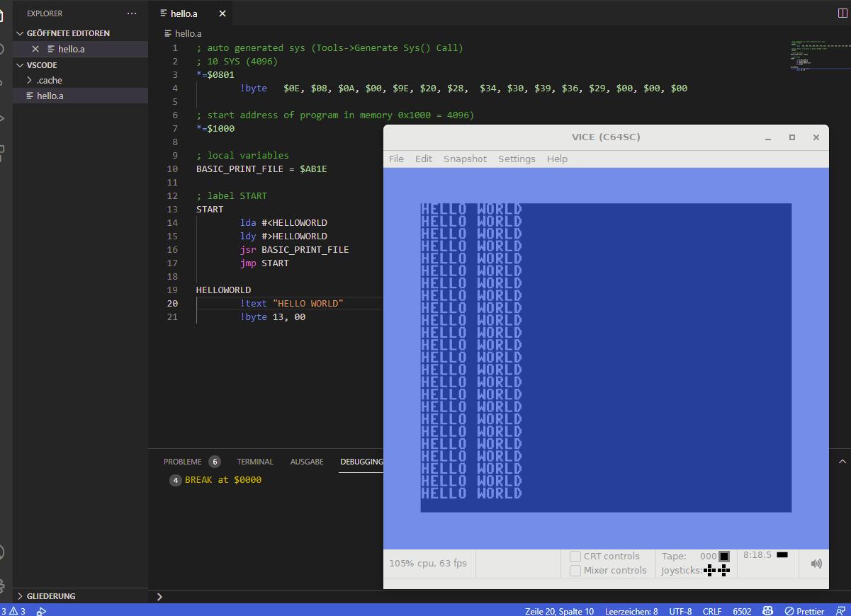 Visual Studio Code C64 Assember