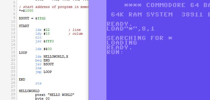 C64 Text Ausgabe Assembler